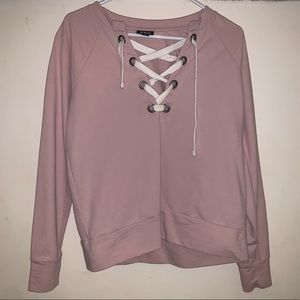 JCPenney a.n.a Blush Pink Lace Up Sweatshirt